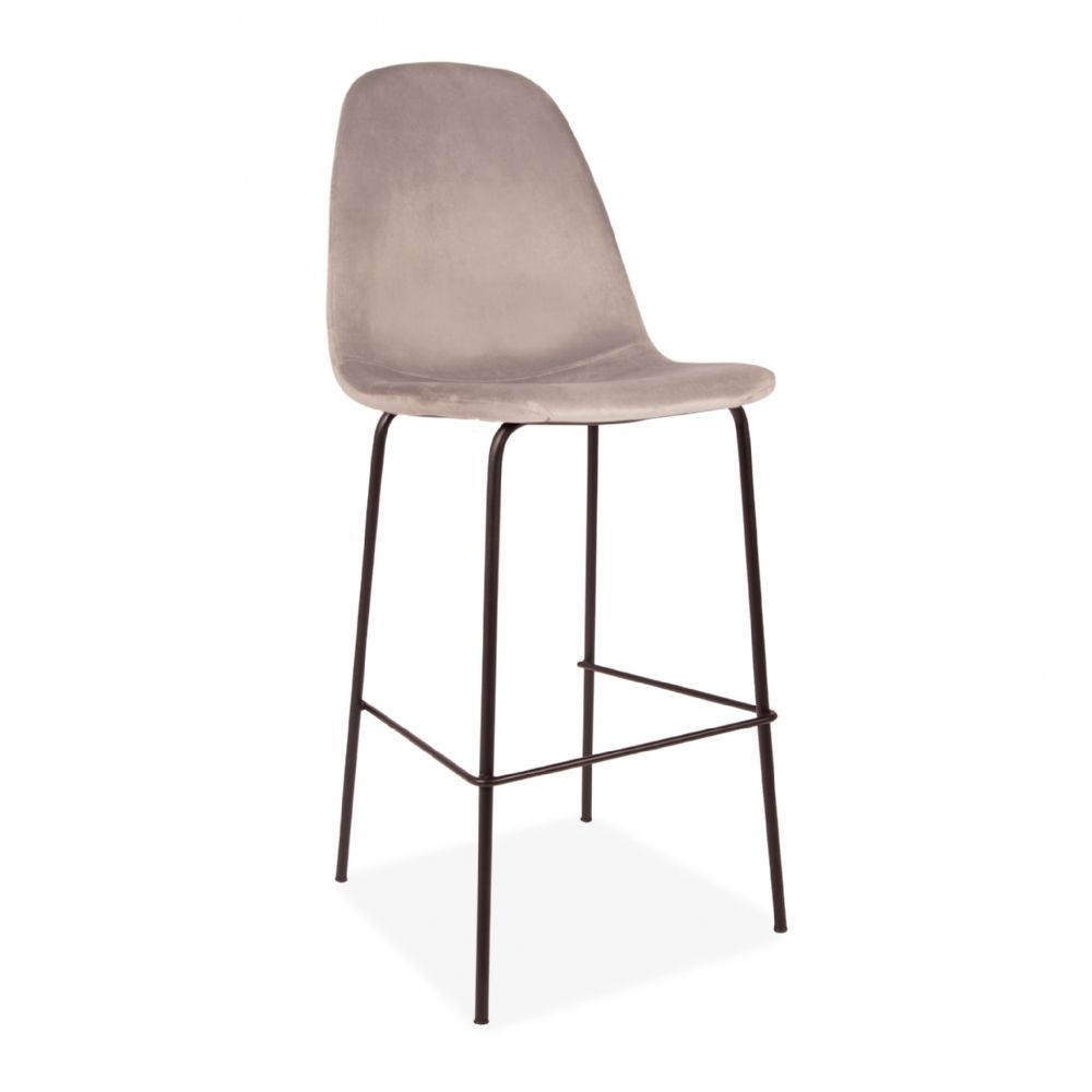 x2 Eiffel Light Grey Velvet Barstools, with Black Legs